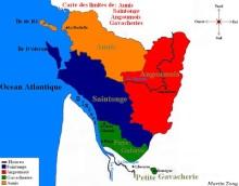 Carte de l'Aunis, Saintonge, Angoumois, Gavacheries.
